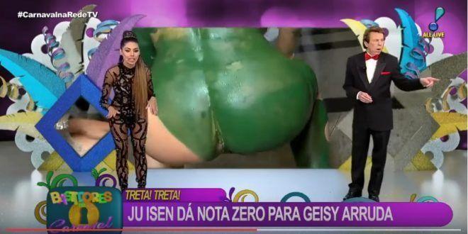 Modelo mostrando o cu ao vivo na Rede TV